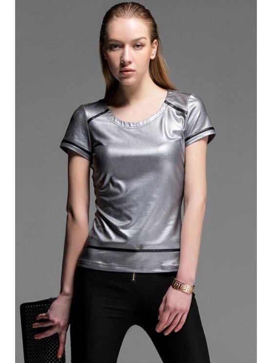 online Color Block Short Sleeve T-Shirt - SILVER S