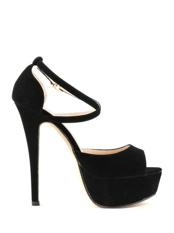 online Suede Criss-Cross Stiletto Heel Pumps - BLACK 35