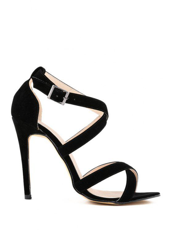 new Suede Stiletto Heel Criss-Cross Design - BLACK 35