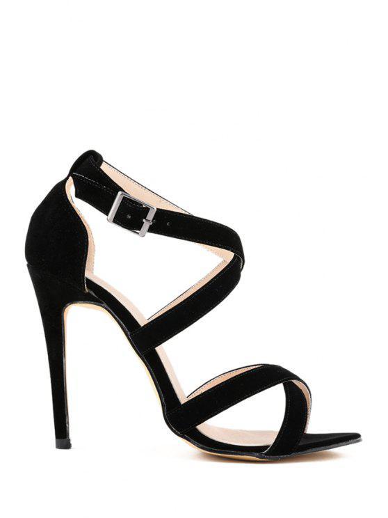 new Suede Stiletto Heel Criss-Cross Design - BLACK 35