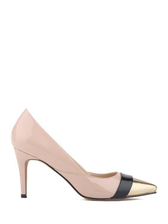 women's Pointed Toe Patent Leather Color Block Pumps - APRICOT 40