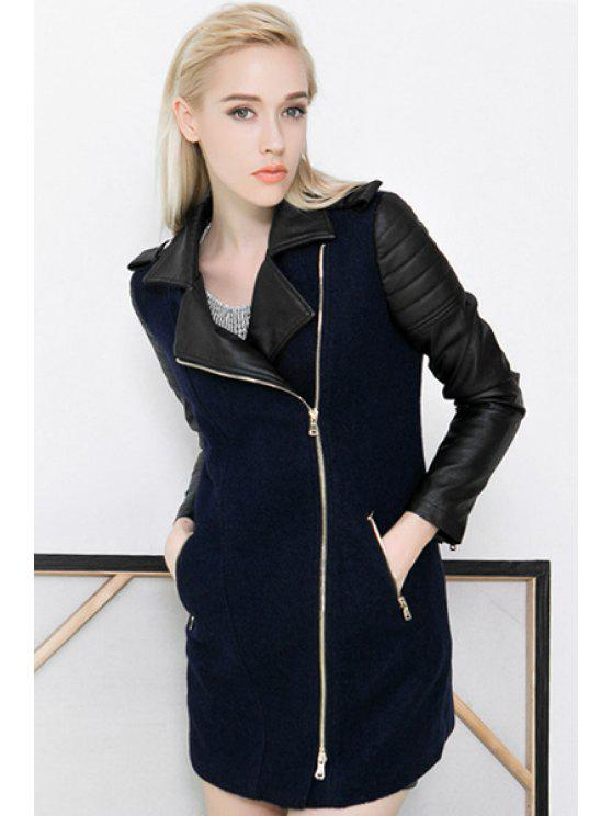 unique Lapel PU Leather Worsted Splicing Coat - DEEP BLUE S