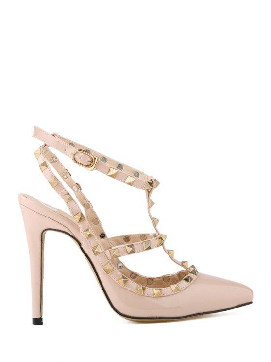 sale Hollow Out Pointed Toe Rivets Pumps - APRICOT 37