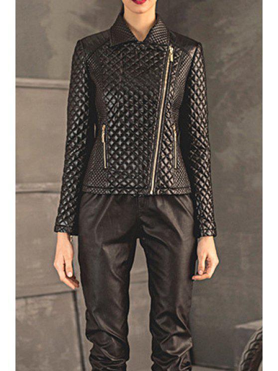 unique Black Argyle PU Leather Jacket - BLACK S