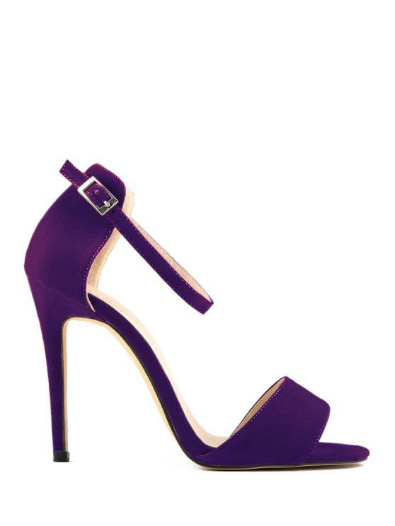 5e10351f2 36% OFF] 2019 Sexy High Heel Suede Solid Color Sandals In PURPLE | ZAFUL