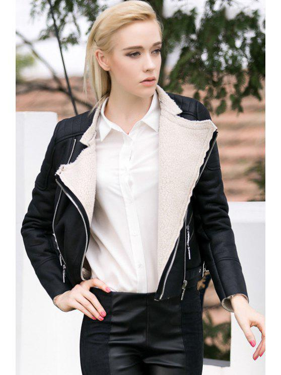 lady Turn-Down Collar PU Leather Jacket - BLACK S