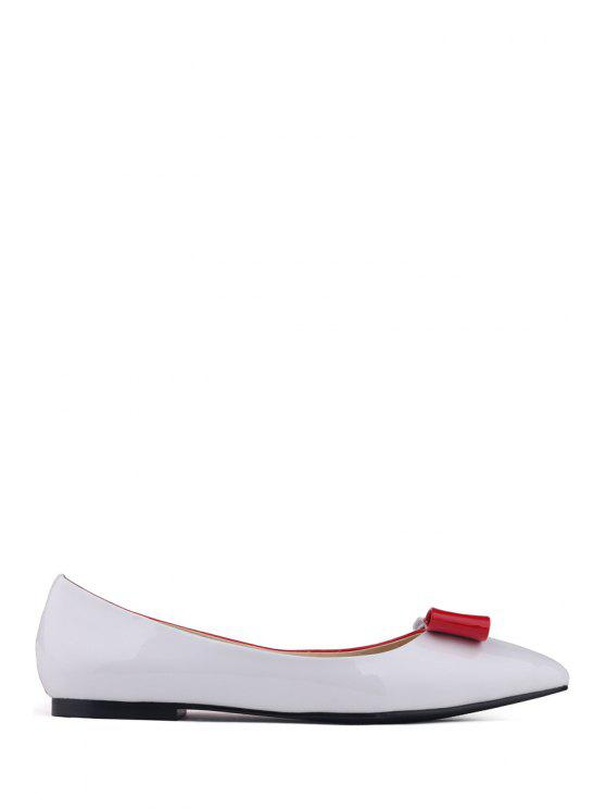 online Pointed Toe Bow Color Block Flat Shoes - RED 34