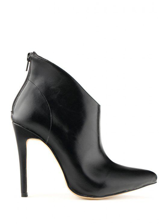 online Sexy High Heel Pointed Toe Zipper Boots - BLACK 35