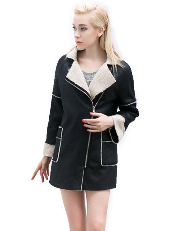 shop PU Leather Lamb Wool Splicing Coat - BLACK S