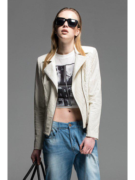 shops Lapel Hollow Out PU Leather Jacket - OFF-WHITE S
