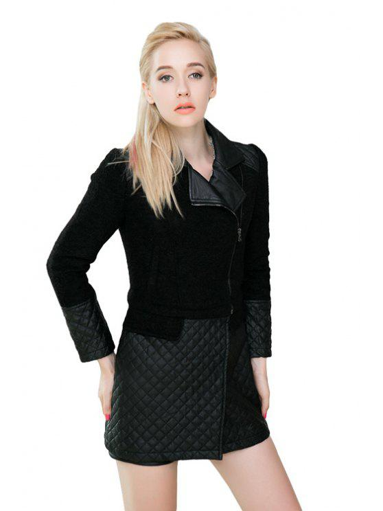 shops Argyle PU Leather Splicing Lapel Coat - BLACK S