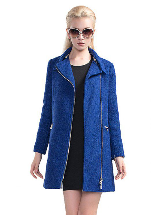 sale Blue Worsted Turn-Down Collar Coat - BLUE XL