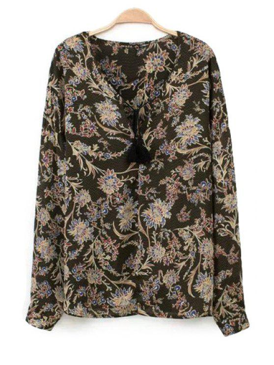 affordable Floral Print Long Sleeve Lace-Up Blouse - BLACK S