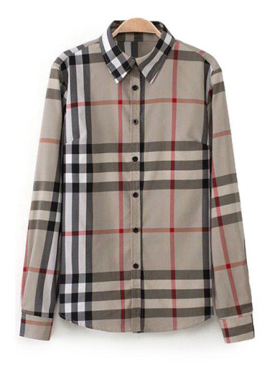 women Plaid Print Turn-Down Collar Shirt - CHECKED S