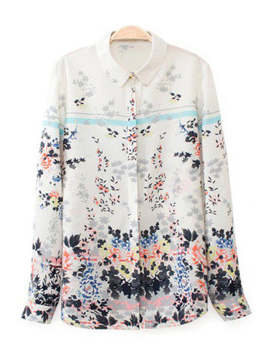 lady Long Sleeve Floral Print Shirt - WHITE S