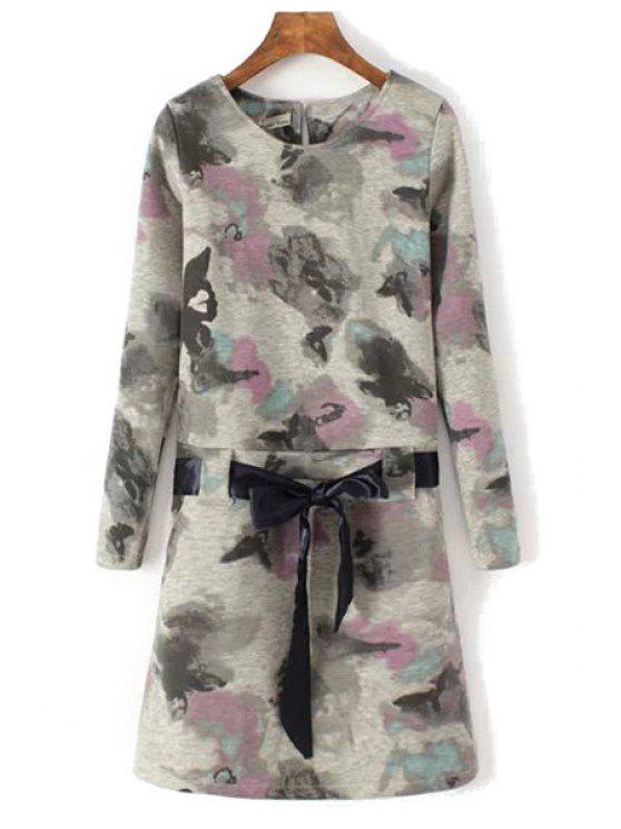 womens Ink Print Long Sleeve Self-Tie Dress - GRAY S