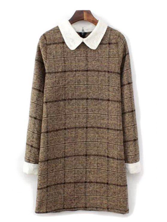 ladies Checked Pattern Peter Pan Collar Dress - COFFEE S