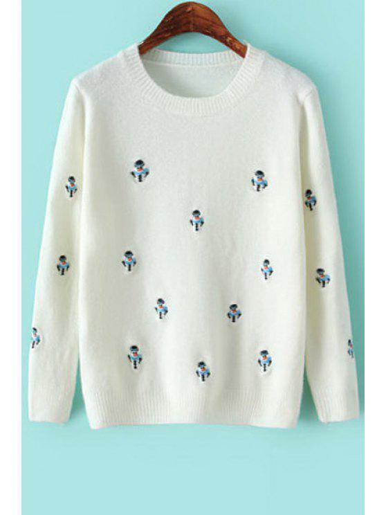 chic Snowman Embroidery Long Sleeve Sweater - WHITE ONE SIZE(FIT SIZE XS TO M)