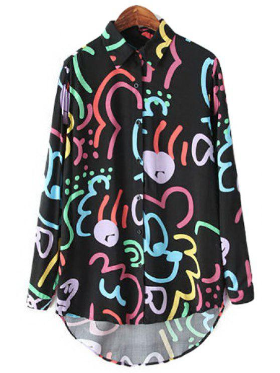 new Colorful Print Long Sleeve Shirt - BLACK S