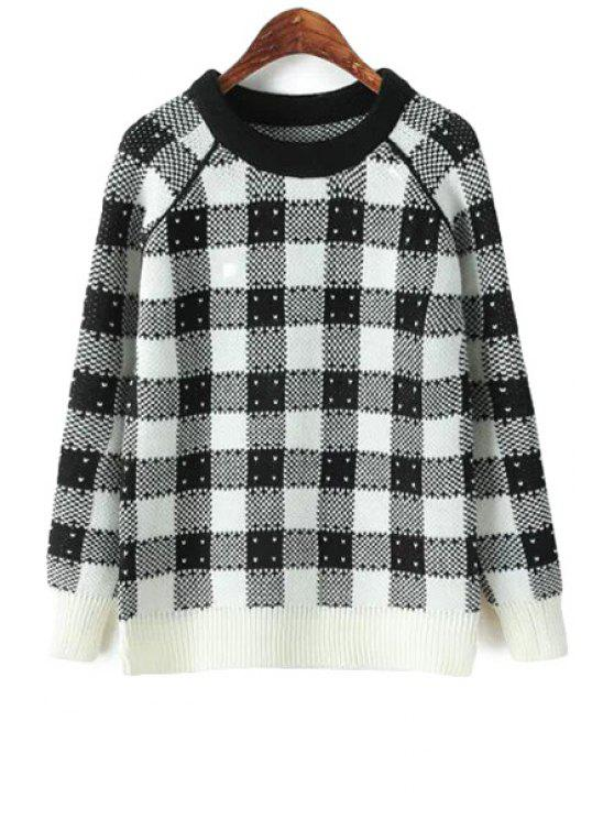 women's Checked Long Sleeve Sweater - CHECKED ONE SIZE(FIT SIZE XS TO M)