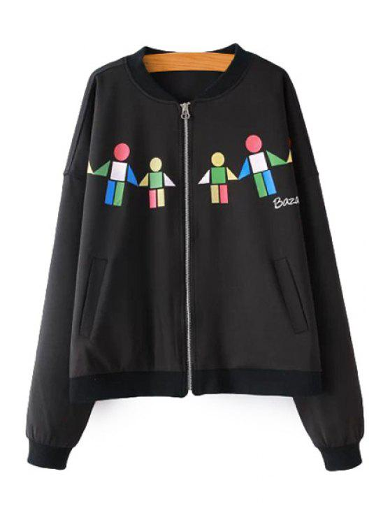 women's Geometric Pattern Stand Collar Jacket - BLACK S