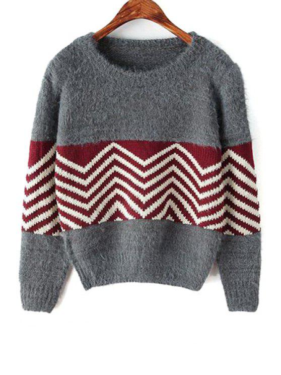 hot Wavy Striped Long Sleeve Sweater - GRAY ONE SIZE(FIT SIZE XS TO M)
