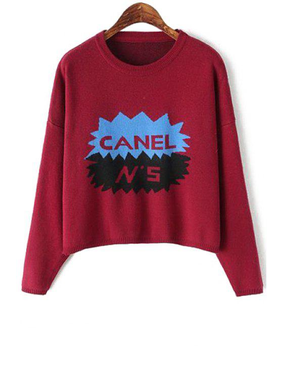 outfits Letter Pattern Long Sleeves Sweater - PURPLISH RED ONE SIZE(FIT SIZE XS TO M)