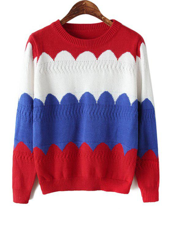 latest Wavy Color Block Long Sleeve Sweater - DEEP BLUE ONE SIZE(FIT SIZE XS TO M)