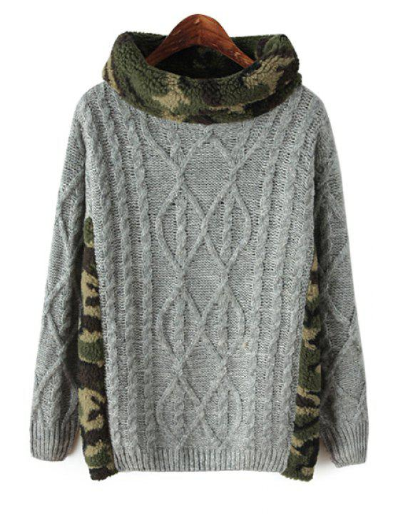 fancy Knit and Cable-Knit Splicing Sweater - GRAY ONE SIZE(FIT SIZE XS TO M)