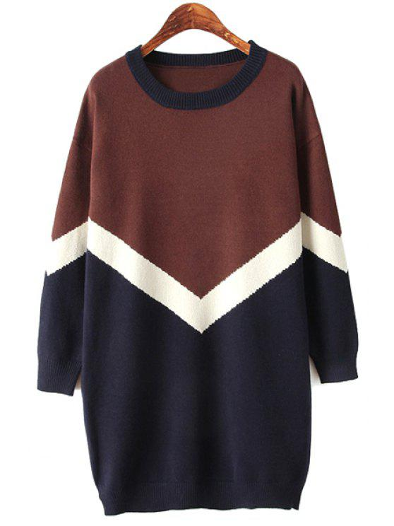 buy Color Block Scoop Collar Sweater - COFFEE ONE SIZE(FIT SIZE XS TO M)