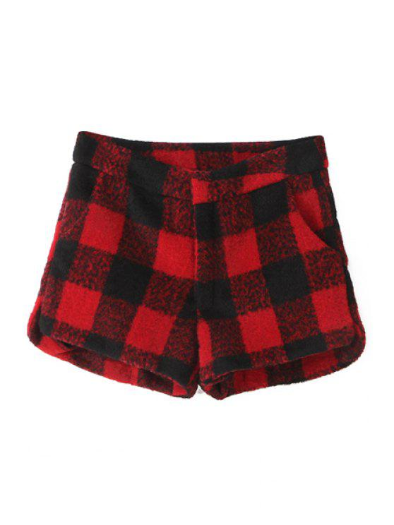 ladies Plaid Pattern Worsted Shorts - RED S