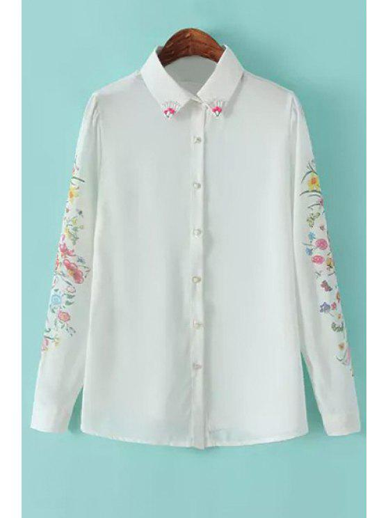 latest Floral Print Beaded Chiffon Shirt - WHITE S