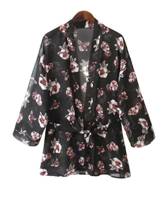 best Full Floral Print Long Sleeve Coat - BLACK S