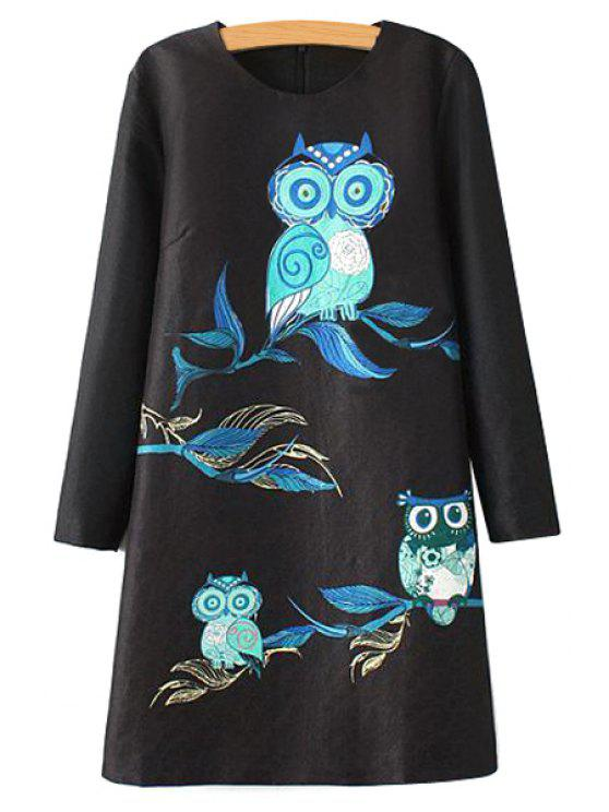 fashion Owl Embroidery Long Sleeve Dress - BLACK S