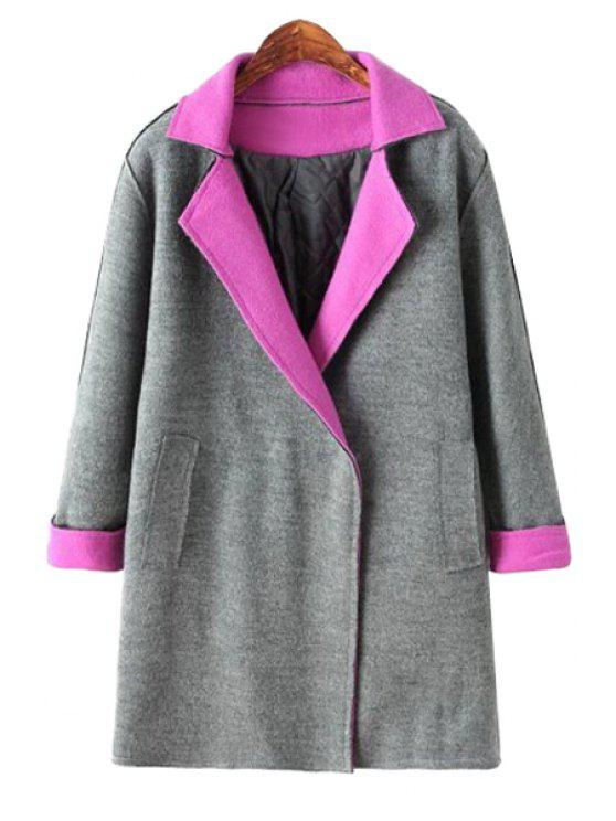 outfits Lapel Color Block Worsted Coat - GRAY ONE SIZE(FIT SIZE XS TO M)