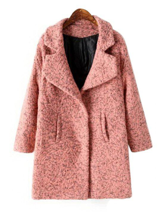 shops Color Mixed Worsted Lapel Coat - PINK ONE SIZE(FIT SIZE XS TO M)