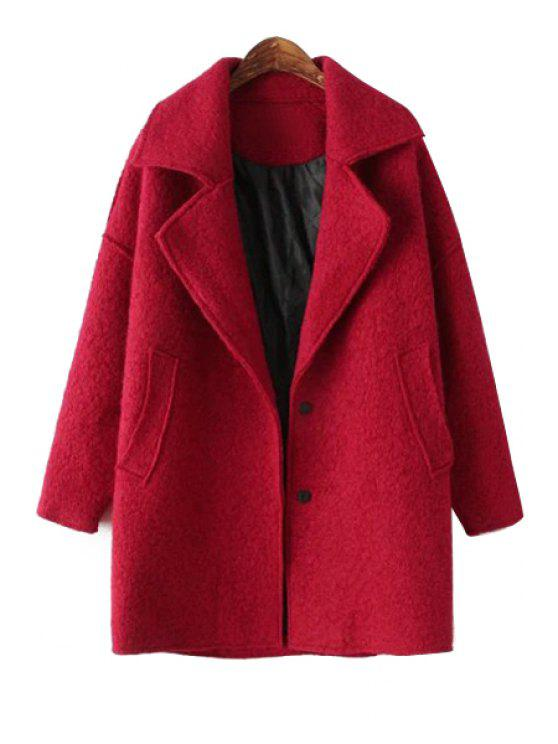 sale Lapel Worsted Solid Color Coat - RED ONE SIZE(FIT SIZE XS TO M)