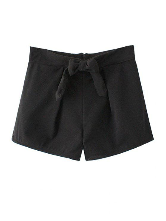 outfit Solid Color Bowknot Shorts - BLACK S