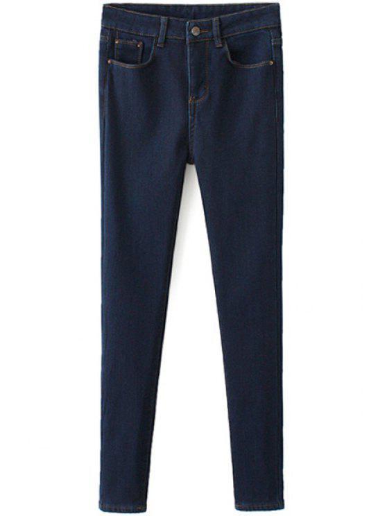 unique Solid Color Narrow Feet Flocking Jeans - DEEP BLUE 27