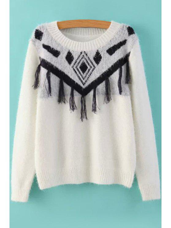 womens Geometric Pattern Fringe Sweater - WHITE ONE SIZE(FIT SIZE XS TO M)