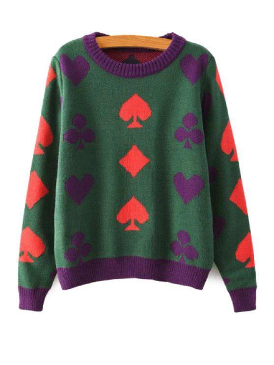 shop Poker Pattern Round Collar Sweater - GREEN ONE SIZE(FIT SIZE XS TO M)