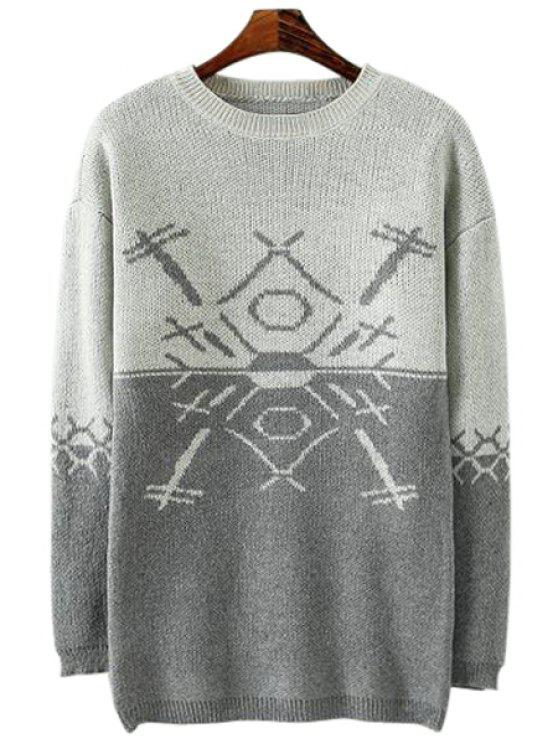 sale Round Collar Color Block Sweater - GRAY S