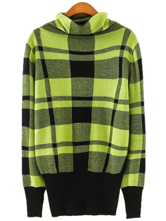 womens Turtle Neck Checked Pattern Sweater - GREEN ONE SIZE(FIT SIZE XS TO M)
