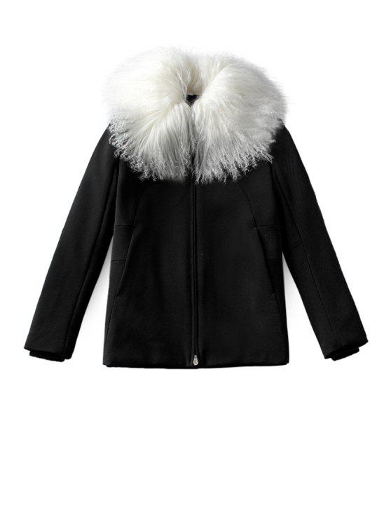 buy Faux Fur Collar Black Coat - BLACK S