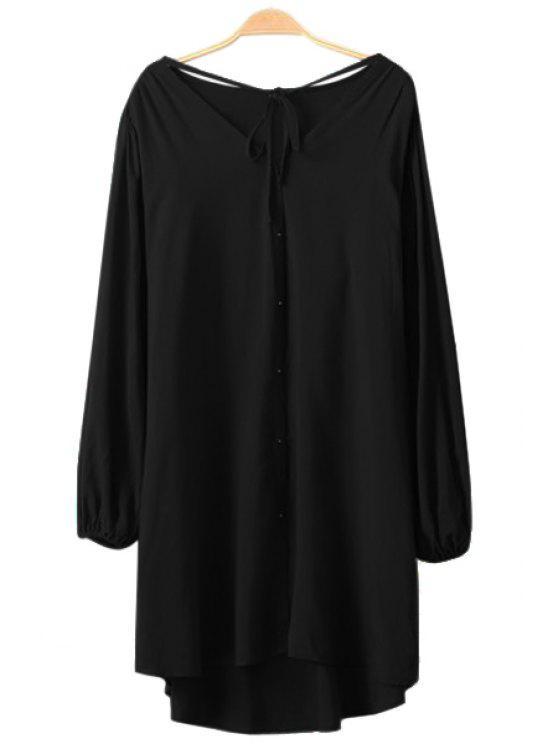 unique Solid Color Long Sleeve Lace-Up Dress - BLACK S