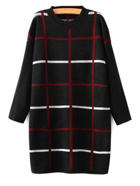 women's Checked Long Sleeve Sweater Dress - BLACK ONE SIZE(FIT SIZE XS TO M)