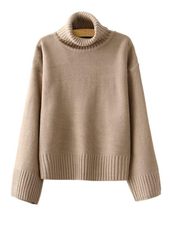 women Turtle Neck Solid Color Long Sleeve Sweater - KHAKI ONE SIZE(FIT SIZE XS TO M)