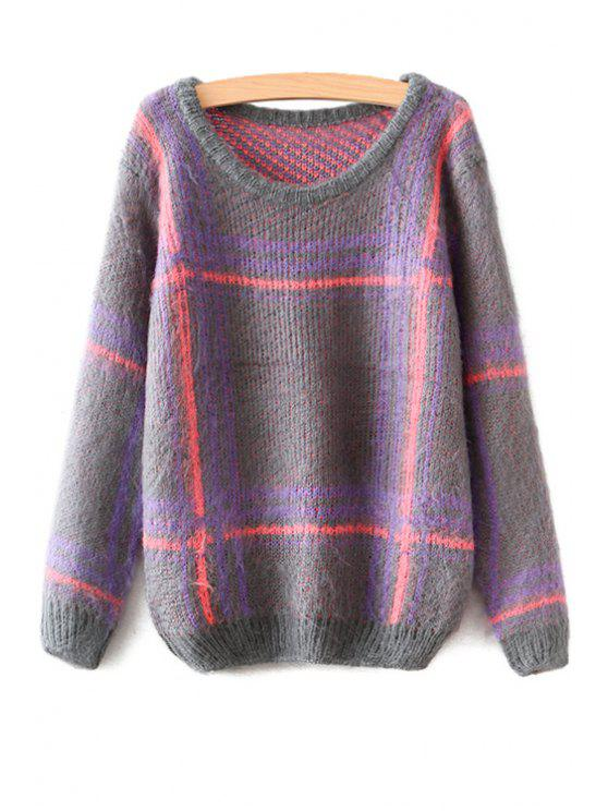 lady Scoop Collar Plaid Pattern Sweater - CHECKED ONE SIZE(FIT SIZE XS TO M)
