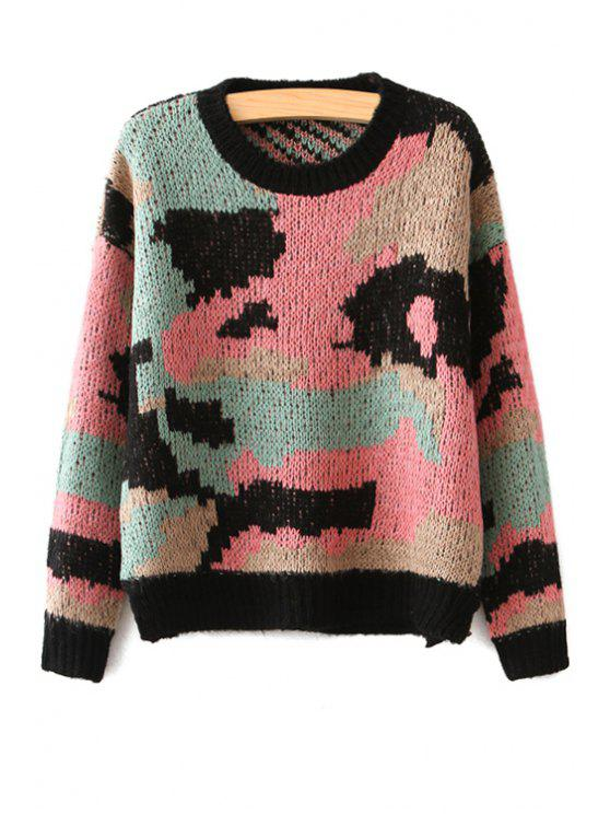 best Camouflage Pattern Long Sleeve Sweater - COLORFUL ONE SIZE(FIT SIZE XS TO M)