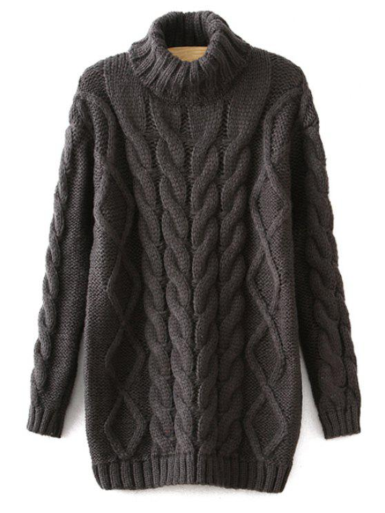 new Turtle Neck Cable-Knit Sweater - GRAY ONE SIZE(FIT SIZE XS TO M)
